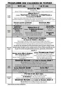 MDJ - Vacances de février 2020